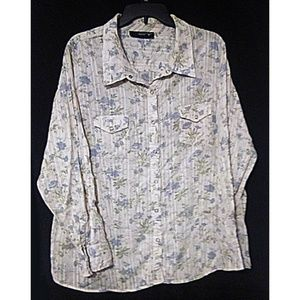 Cowgirl Chic Snap Floral Western Shirt 2X 18 20